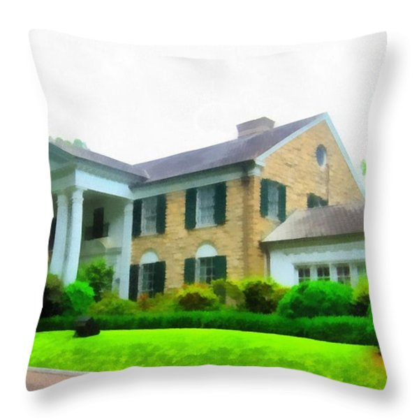 Graceland Mansion Throw Pillow by Dan Sproul
