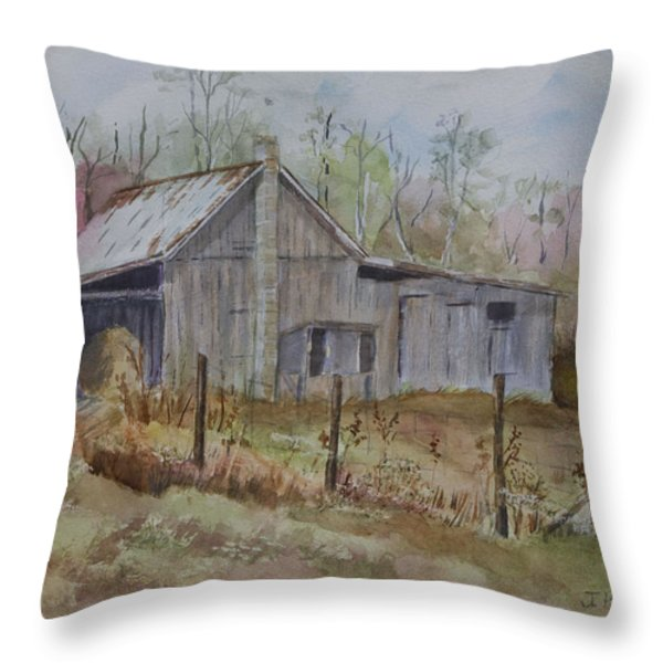 Grady's Barn Throw Pillow by Janet Felts