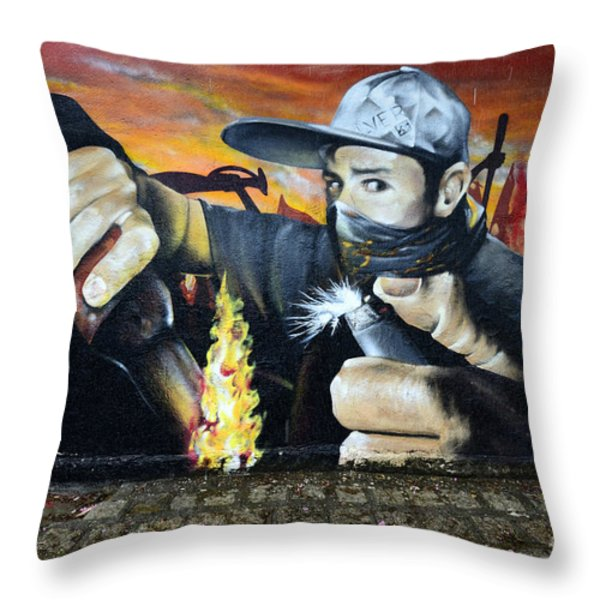 Graffiti Art Curitiba Brazil 10 Throw Pillow by Bob Christopher