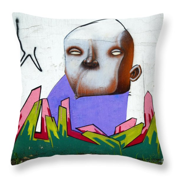Graffiti Art Curitiba Brazil 17 Throw Pillow by Bob Christopher