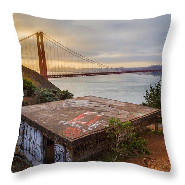 Graffiti by the Golden Gate Bridge Throw Pillow by Sarit Sotangkur
