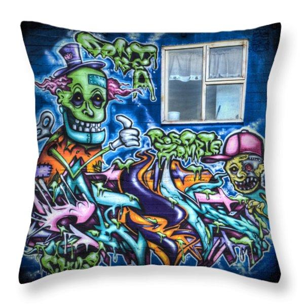 Graffiti City Throw Pillow by Evelina Kremsdorf