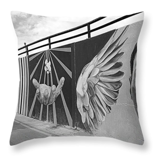 Graffiti in the Windy City Throw Pillow by Christine Till