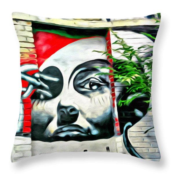 Grafitti Three Lady Throw Pillow by Alice Gipson