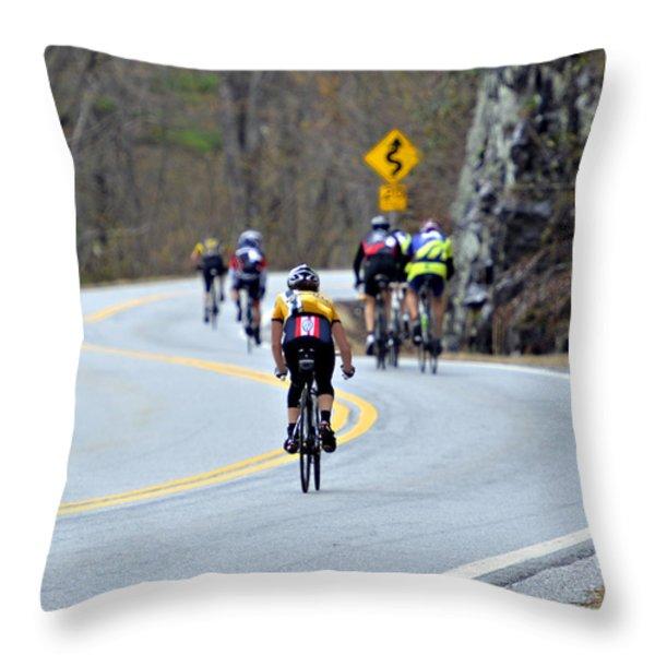 Gran Fondo Bike Ride Throw Pillow by Susan Leggett