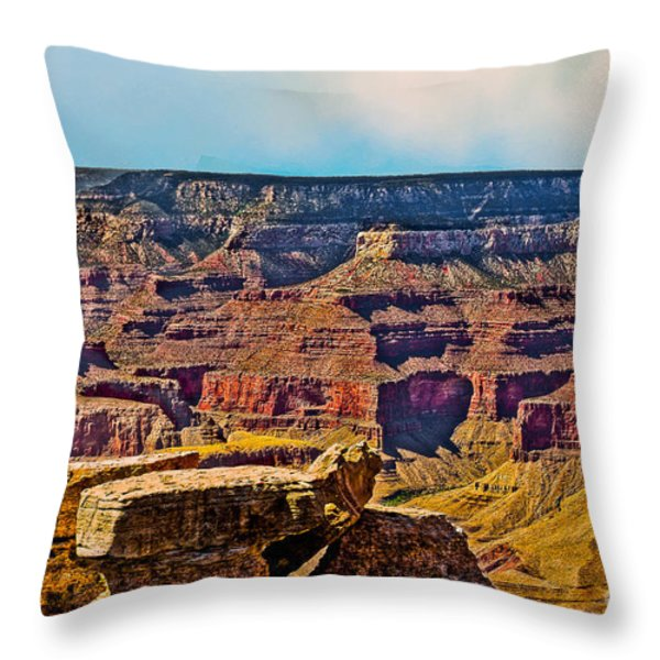 Grand Canyon Mather Viewpoint Throw Pillow by Bob and Nadine Johnston