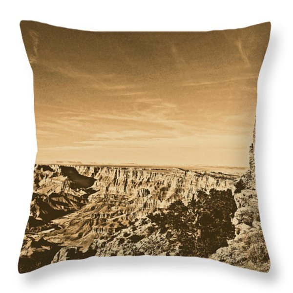 Grand Canyon National Park Mary Colter Designed Desert View Watchtower Rustic Throw Pillow by Shawn O'Brien