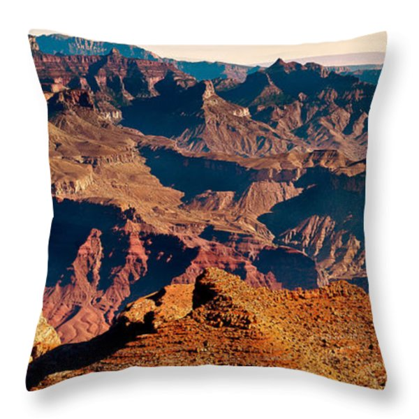 Grand Canyon Navajo Point Panorama At Sunrise Throw Pillow by Bob and Nadine Johnston