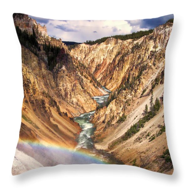 Grand Canyon of Yellowstone 1 Throw Pillow by Thomas Woolworth