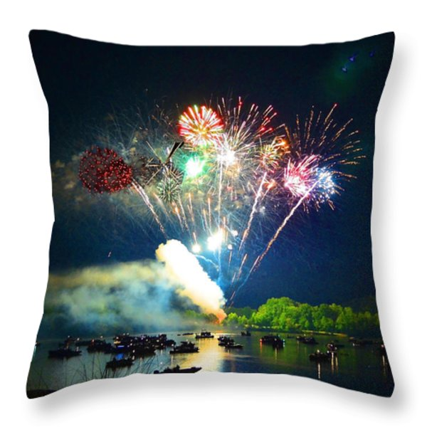 Grand Finale Over The Lake Throw Pillow by Sandi OReilly