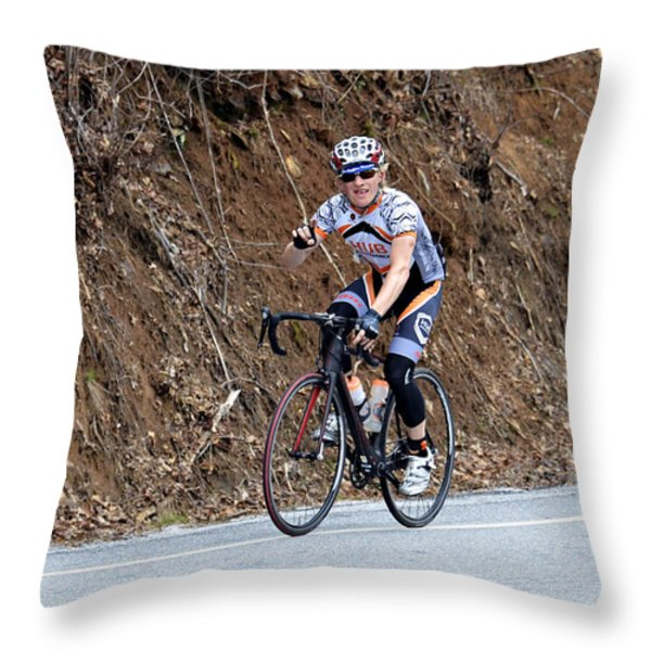 Grand Fondo Bike Ride Throw Pillow by Susan Leggett