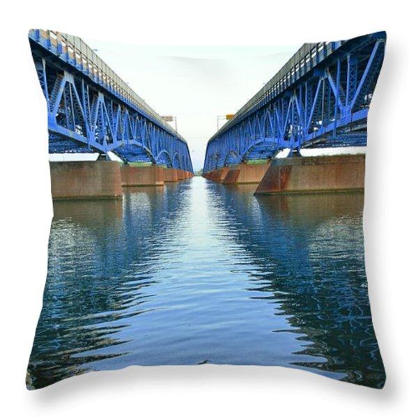 Grand Island Bridges Throw Pillow by Kathleen Struckle