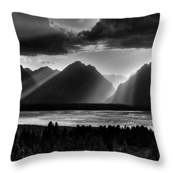 Grand Teton Light Beams Throw Pillow by Aidan Moran