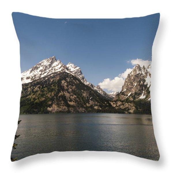 Grand Tetons On Jenny Lake 2 - Grand Teton National Park Wyoming Throw Pillow by Brian Harig