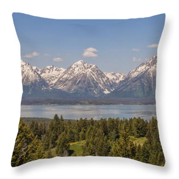 Grand Tetons Over Jackson Lake Panorama Throw Pillow by Brian Harig