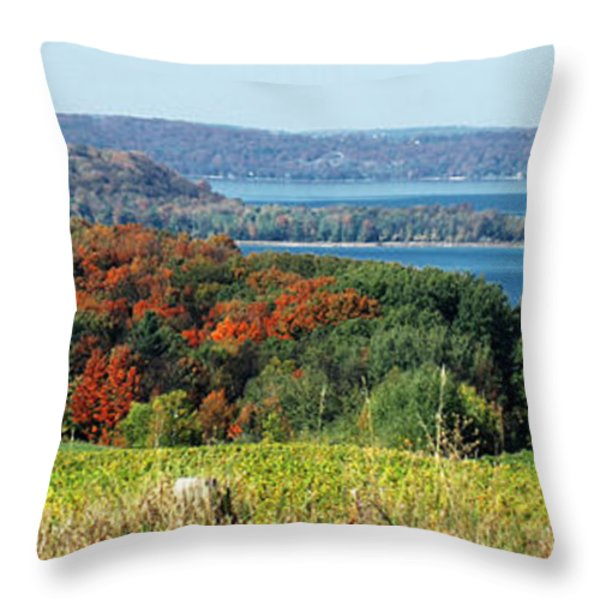 Grand Traverse Winery Lookout Throw Pillow by Optical Playground By MP Ray