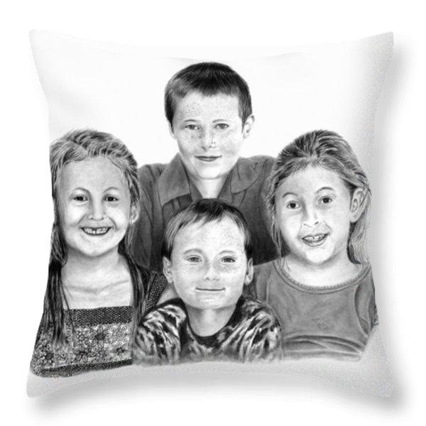 Grandchildren Portrait Throw Pillow by Peter Piatt