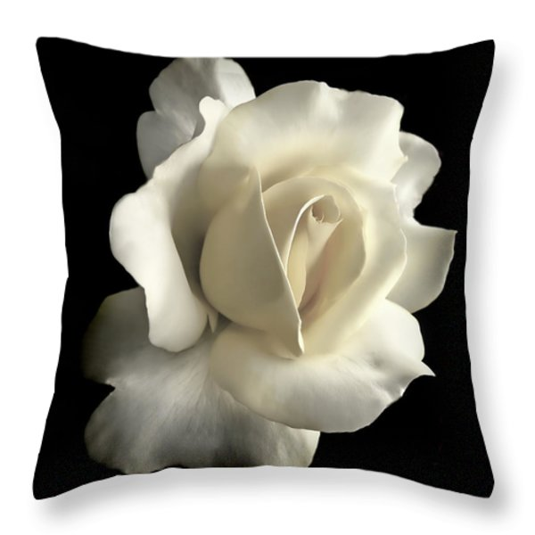 Grandeur Ivory Rose Flower Throw Pillow by Jennie Marie Schell