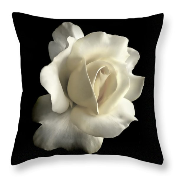 Grandeur Ivory Rose Flower Throw Pillow by Jennie Marie Schell