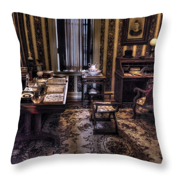 Grandfather's Office Throw Pillow by William Fields