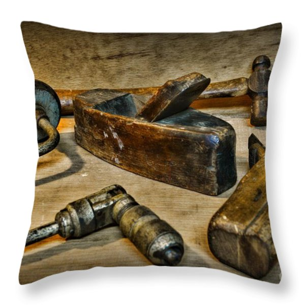 Grandfathers Tools Throw Pillow by Paul Ward