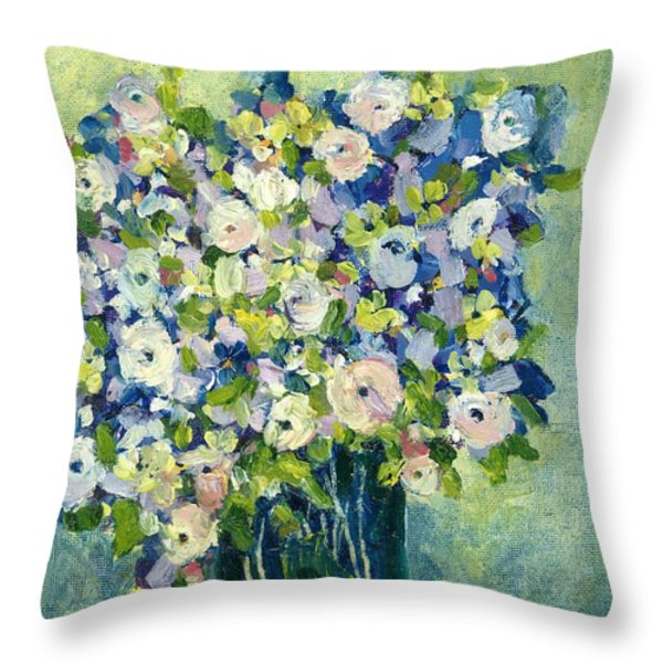 Grandma's Flowers Throw Pillow by Sherry Harradence