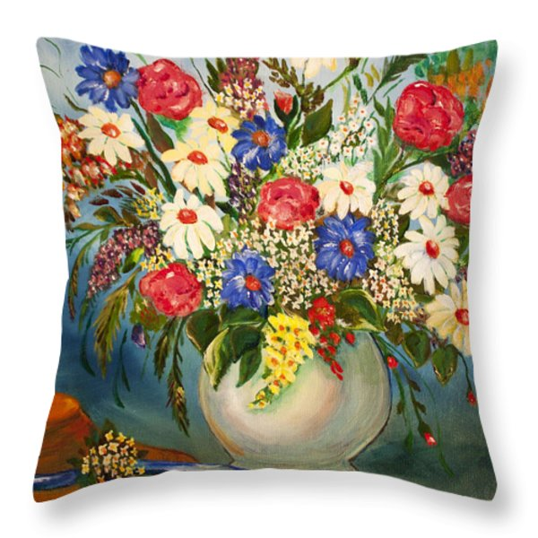 Grandma's Hat And Bouquet Throw Pillow by Janice Rae Pariza