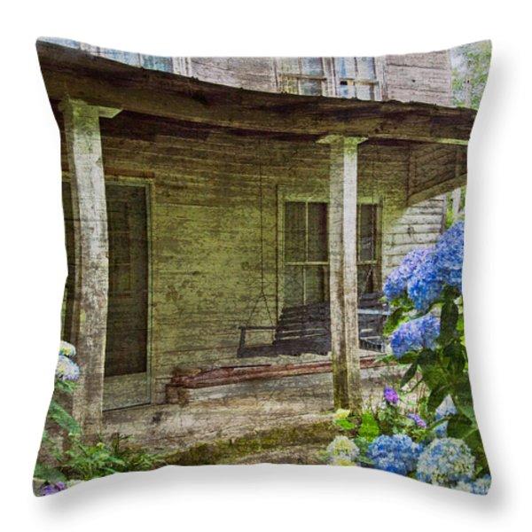 Grandma's Porch Throw Pillow by Debra and Dave Vanderlaan