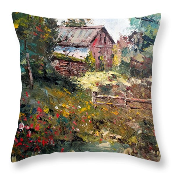 Grandpa's Barn Throw Pillow by Lee Piper
