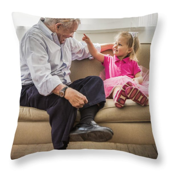 Grandpa's Little Princess Throw Pillow by Diane Diederich