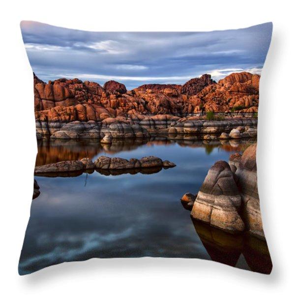 Granite Dells at Watson Lake Arizona 2 Throw Pillow by Dave Dilli
