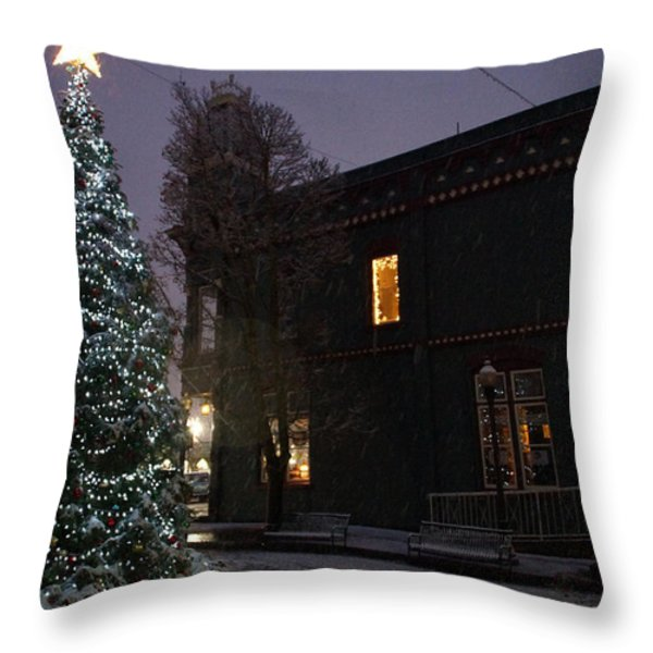 Grants Pass Town Center Christmas Tree Throw Pillow by Mick Anderson