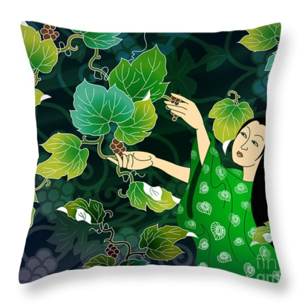 Grape Picking Throw Pillow by Bedros Awak