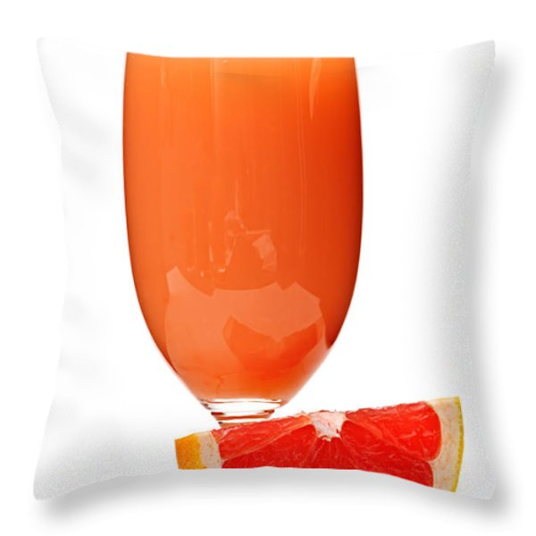 Grapefruit Juice In Glass Throw Pillow by Elena Elisseeva