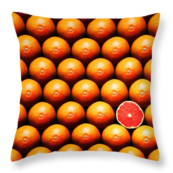 Grapefruit slice between group Throw Pillow by Johan Swanepoel