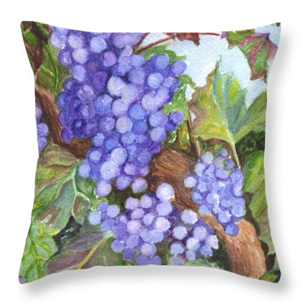 Grapes For The Harvest Throw Pillow by Carol Wisniewski