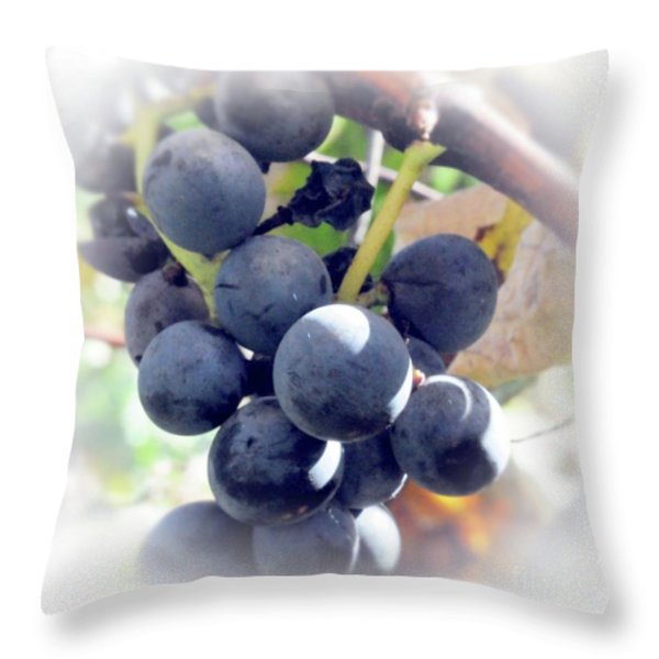 Grapes On The Vine Throw Pillow by Kathleen Struckle