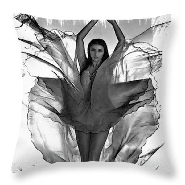 Graphic Angel Throw Pillow by M and L Creations