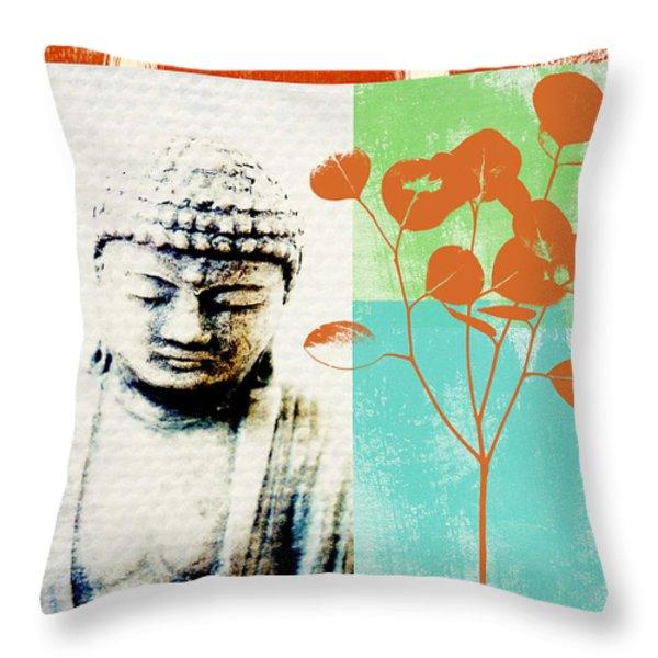Gratitude Card- Zen Buddha Throw Pillow by Linda Woods
