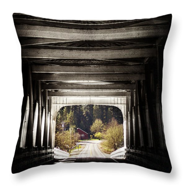 Grave Creek Covered Bridge Throw Pillow by Melanie Lankford Photography