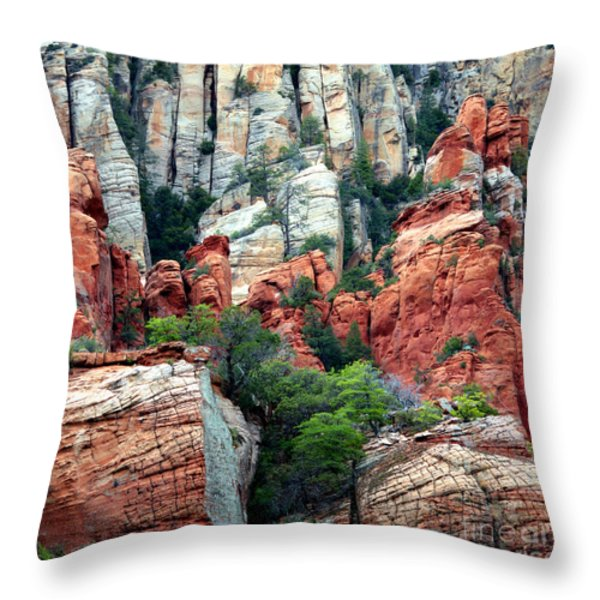Gray and Orange Sedona Cliff Throw Pillow by Carol Groenen