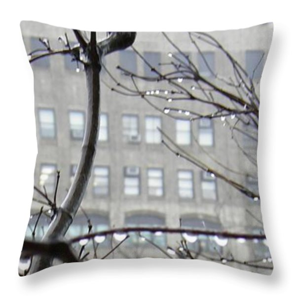 Gray City Throw Pillow by Sarah Loft
