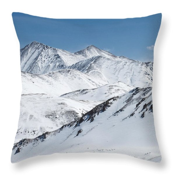 Grays And Torreys From Loveland Ski Area Throw Pillow by Aaron Spong