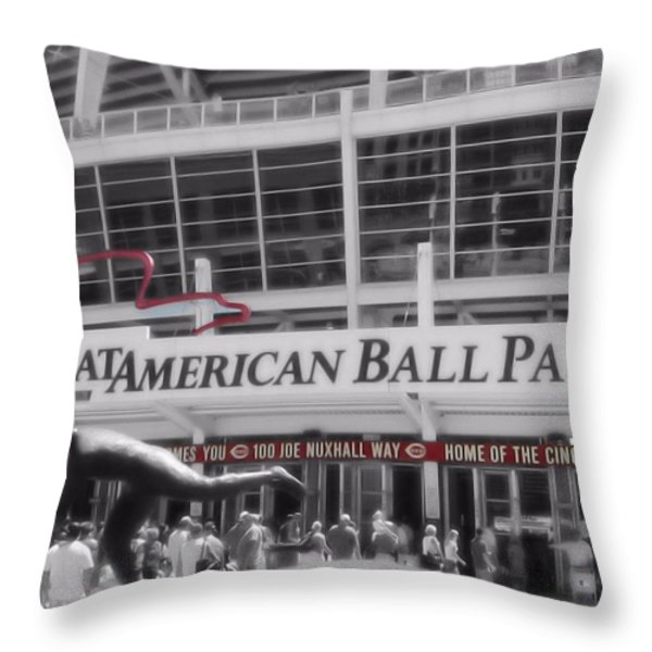 Great American Ball Park And The Cincinnati Reds Throw Pillow by Dan Sproul