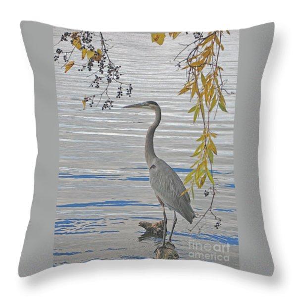 Great Blue Heron Throw Pillow by Ann Horn