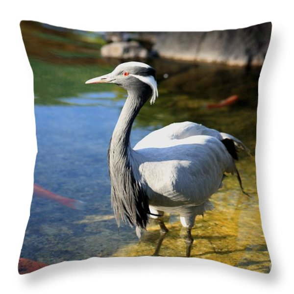 Great Blue Heron Throw Pillow by Cheryl Young