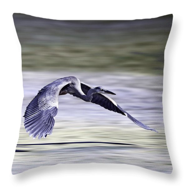 Great Blue Heron In Flight Throw Pillow by John Haldane
