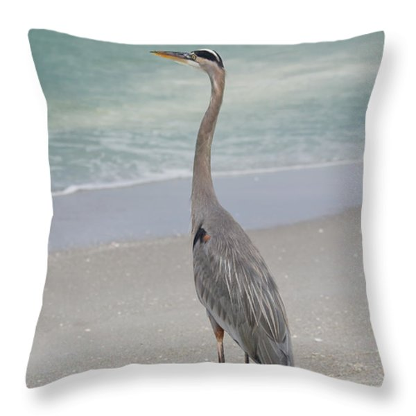 Great Blue Heron Throw Pillow by Kim Hojnacki
