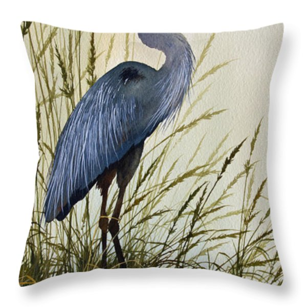 Great Blue Heron Splendor Throw Pillow by James Williamson