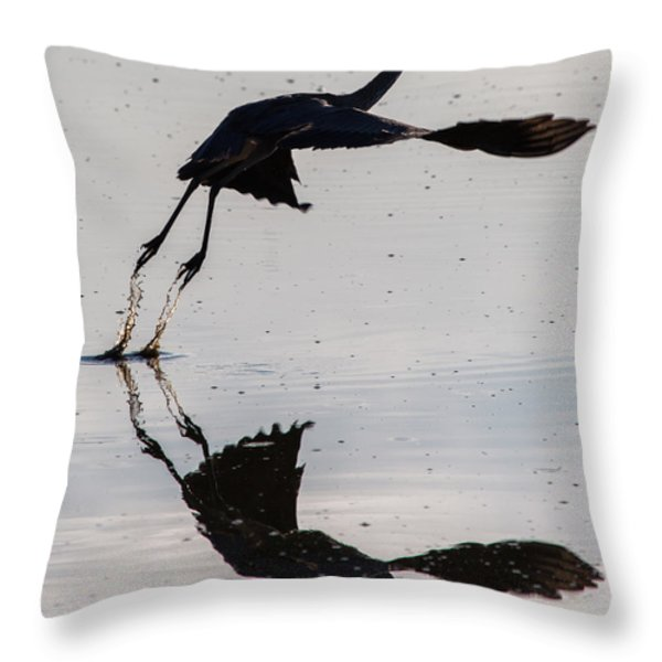 Great Blue Heron Takeoff Throw Pillow by John Daly